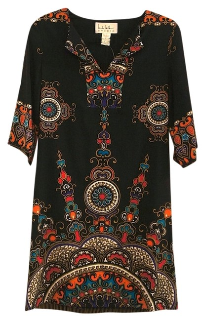 Preload https://item4.tradesy.com/images/nicole-miller-black-and-jewel-tones-mini-night-out-dress-size-4-s-5445763-0-0.jpg?width=400&height=650