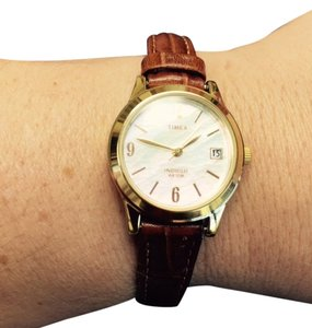 Timex Mother of pearl face leather watch