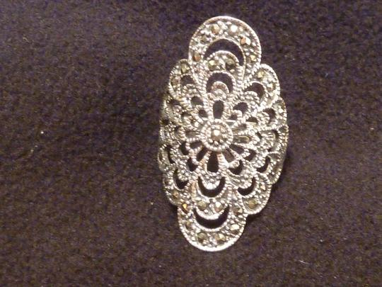 Other MARCASITE AND STERLING SILVER FILIGREE SHIELD RING sz 7