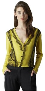 Marchesa Voyage Wool Lace Lace Trim Cardigan