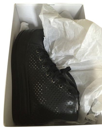 Comme des Garçons Brand New In Box All Sneakers Perforated Leather Black Platforms