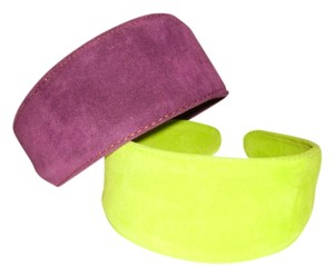 Lot of Suede Wide Headbands in Orchid and Green