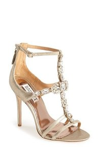 Badgley Mischka Embellished Gold Strappy Bling Sparkly Statement Stilettos Wedding Wedding Shoes