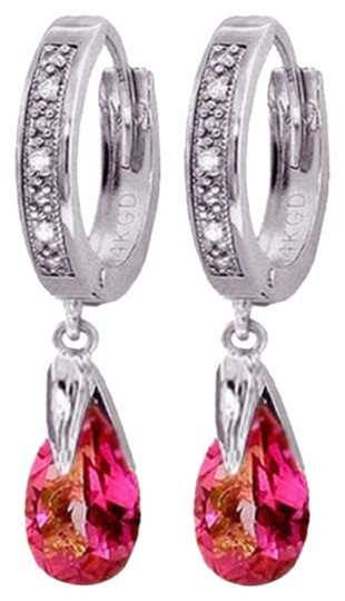 Other 2.53 CT 14k White Gold Diamond and Pink Topaz Hoop Dangling Earrings