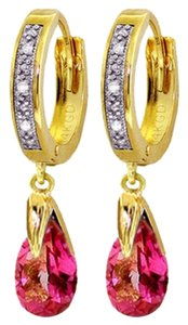 2.53 CT 14k Yellow Gold Diamond and Pink Topaz Hoop Dangling Earrings