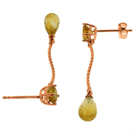 Other 4.3 CT 14k Rose Gold Yellow Citrine Gemstone Danglings Earrings