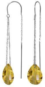 Other 6 CT 14k White Gold Yellow Citrine Threaded Drop Earrings