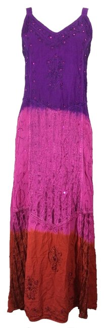 India Boutique short dress Multi-color Tye/Dip Dye #tyedye #maxi #embroidered #beaded on Tradesy