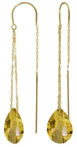 Other 6 CT 14k Yellow Gold Yellow Citrine Threaded Drop Earrings