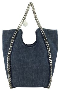 Stella McCartney Silver Hardware Logo Tote in Denim Blue