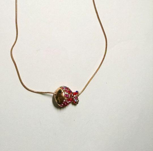 Betsey Johnson Betsey Johnson Necklace Fish on a Line Gold Tone Crystals J1199