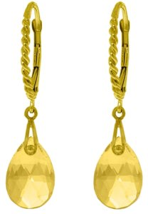 Other 6 CT 14k Yellow Gold Yellow Citrine Gemstone Drop Earrings