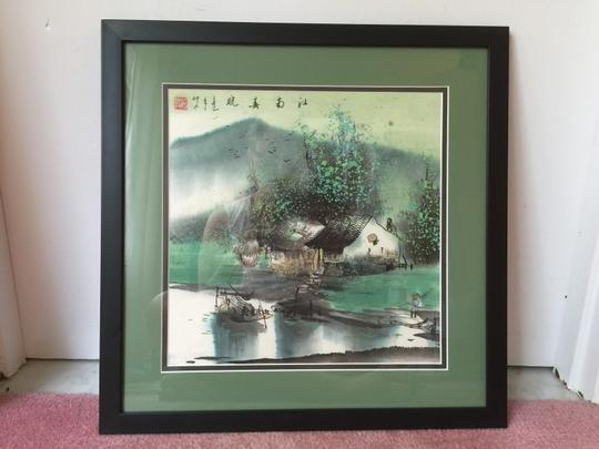 Green/Beige Drawing Rice Paper Decorative Objects