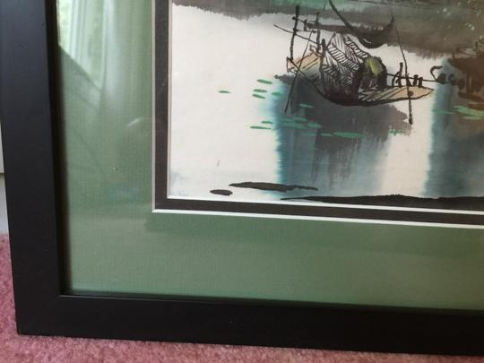 Green/Beige Framed Drawing On Rice Paper Decoration