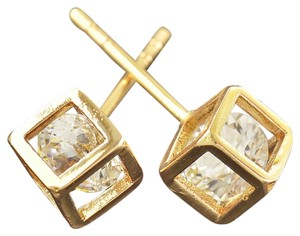 New 14K Gold Filled Cubic Zirconia Box Stud Earrings Small J1214