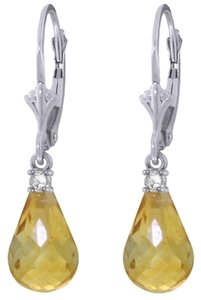 Other 4.5 CT 14K White Gold Yellow Citrine and Diamond Drop Earrings