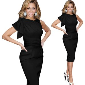 VfEmage Women Elegant Ruffle Ruched Wiggle Sheath Dress