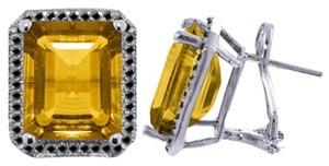 10.4 CT 14k White Gold Black Diamond & Citrine Stud French Clips Earrings