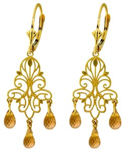 Other 3.75 CT 14k Yellow Gold Natural Citrine Chandelier Earrings