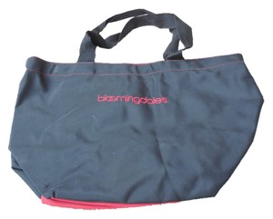 Bloomingdale's Logo Trim Shopping Zipper Close Double Handle Tote in Black w/Red Accents