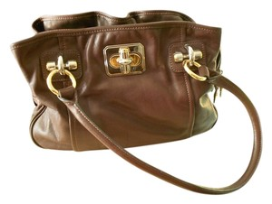 B. Makowsky Leather Purse Satchel in Chocolate Brown