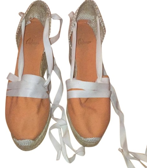 Castañer Orange and beige/khakis wedge Wedges