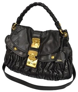 Prada Made In Italy Soft Leather Famous Pleated Cross Body Bag