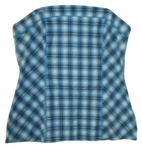 Wex 2x 18/20 Strapless Belt Loops Top Blue Plaid