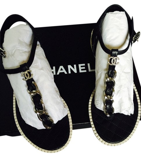 Chanel Size 37 Leather Chain Black and Silver Sandals
