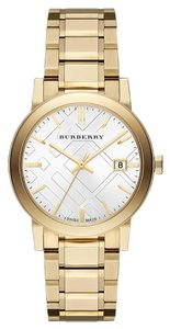 Burberry BRAND NEW Burberry Large Check Goldtone Stainless Steel Watch