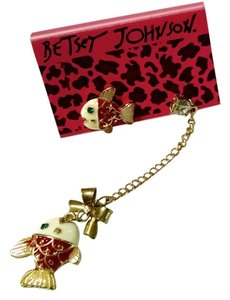 Betsey Johnson Betsey Johnson Fish Dangle Earrings Gold Tone Red J1201