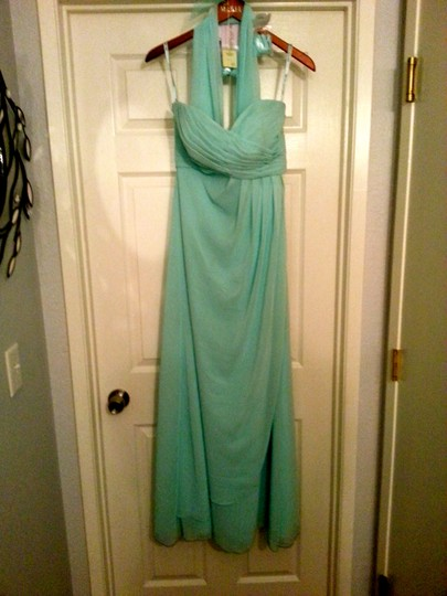 Mori Lee Turquoise Chiffon 642 Formal Bridesmaid/Mob Dress Size 6 (S)
