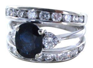14K SOLID WHITE GOLD RING ENGAGEMENT BAND 20 DIAMOND 1 CARAT SZ 9.5 SAPPHIRE
