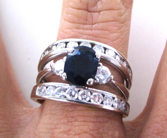 Other 14K SOLID WHITE GOLD RING ENGAGEMENT BAND 20 DIAMOND 1 CARAT SZ 9.5 SAPPHIRE