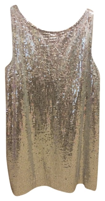 Item - Silver Sequin Tunic Above Knee Cocktail Dress Size 12 (L)