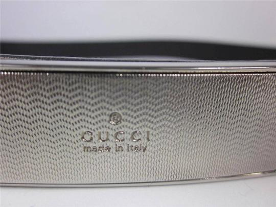 """Gucci Gray, Leather & Silver """"Gucci"""" Logo Buckle Belt - fits 26"""" to 28"""""""