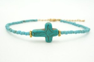 Side Way Turquoise Cross Bracelet Free Shipping