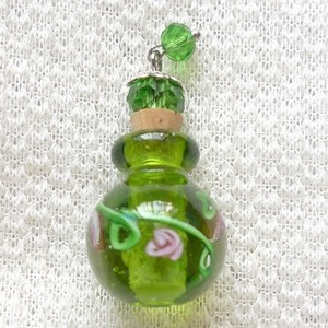 Green Glass Perfume Bottle Necklace Free Shipping