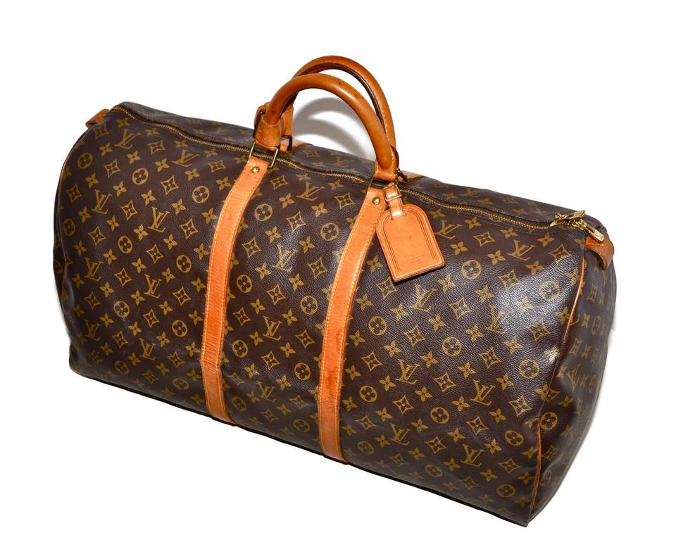Louis Vuitton Duffle Keepall 60 Large Size Brown Leather   Coated Canvas  Weekend Travel Bag 5aef068594a4b
