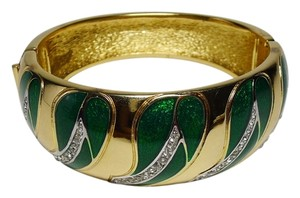 Dior Authentic Christian Dior Vintage Green Enamel Crystal Wide Bracelet