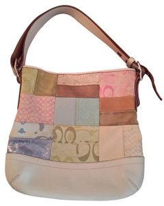 Coach Satchel in Beige with Patchwork