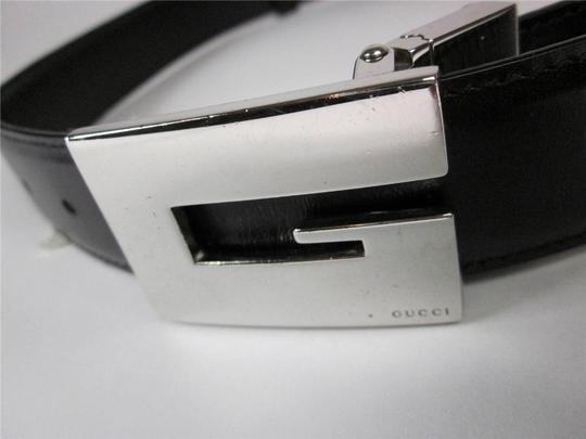 """Gucci GUCCI: Black/Brown, Reversible Leather & Large Silver """"G"""" Belt - 25"""" to 27"""""""
