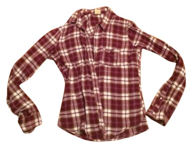 Hollister Button Down Shirt Maroon and white