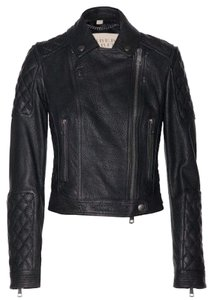 Burberry Brit Leather Motorcycle Biker Moto Quilted Honeycomb Padded Coat New Nwt Nwt 2 Xs Rare Celebrity Grendon Fall Winter Black Jacket