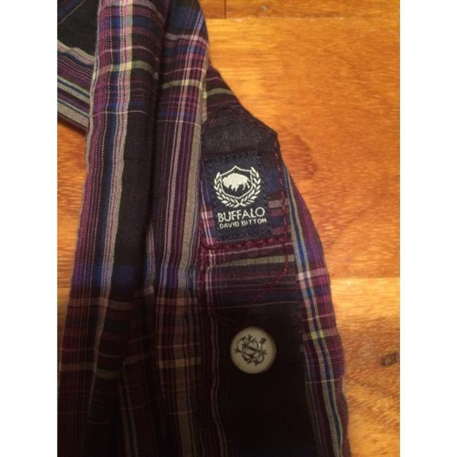 Buffalo David Bitton Button Down Shirt Purple and black