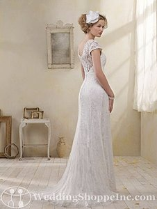 Alfred Angelo Ivory Lace Over Charmeuse 8501 Destination Wedding Dress Size 2 (XS)