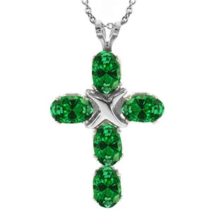 Light Peridot Crystal Cross Pendant Necklace Free Shipping