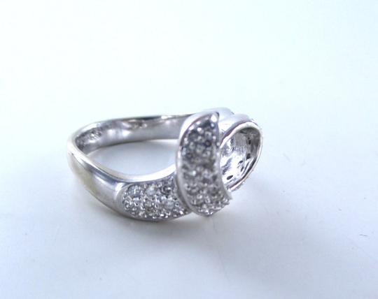 Other 14K SOLID WHITE GOLD RING ENGAGEMENT BAND HEART WEDDING BAND SZ 6.5 46 DIAMONDS