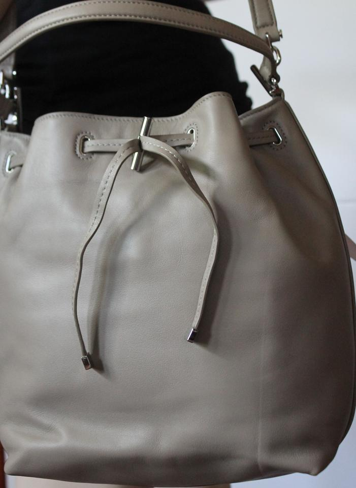 e6092c11b4e5 Tory Burch With Defect Toggle Drawstring Bucket Handbag Shoulder French Grey  Leather Tote - Tradesy