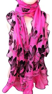 Other Pink Ruffled Butterfly Print Sparkle Scarf Free Shipping